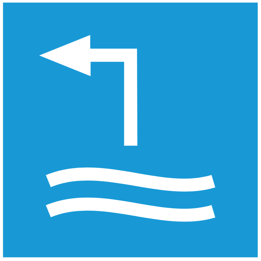 So sieht das Schild für die Auswasserungsstelle aus.