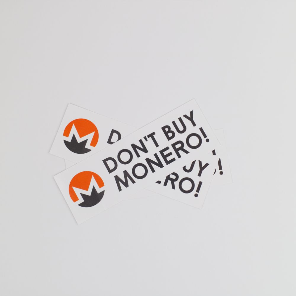 Don't Buy Monero Bumper Stickers
